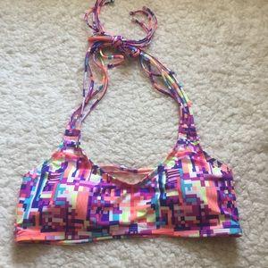NWOT Scoop Neck Strappy Multicolored Bikini Top L